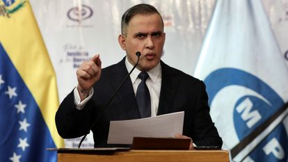 The attorney general of Venezuela, Tarek William Saab, at a press conference held in Caracas on May 8, 2020.