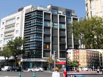 """El edificio que ocupa hoy el número 103 de la calle de Alcalá y, en la imagen pequeña, el inmueble protegido que le precedió hasta su desaparición por """"demolición total""""."""