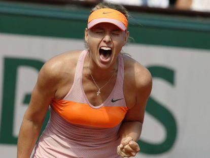 Sharapova celebra su victoria.