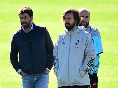 El presidente de la Juventus, Andrea Agnelli, y el técnico del equipo, Andrea Pirlo, en octubre del año pasado.
