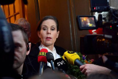 Sara Danius ante la prensa tras una reunión en la Academia el 12 de abril.