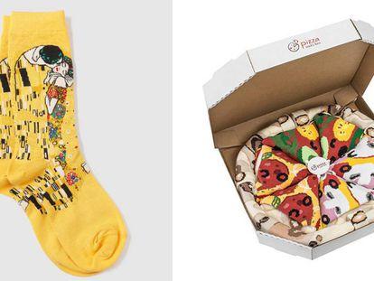 Un par de calcetines con el diseño del cuadro de 'El beso', de Gustav Klimt, y una caja con calcetines con dibujos de pizzas de diferentes sabores.