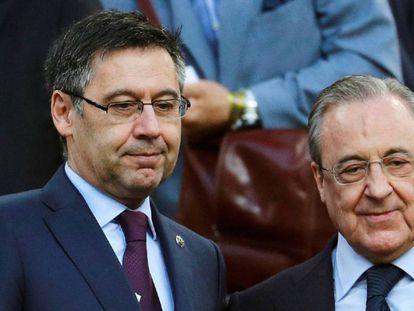 Bartomeu y Pérez, en el palco del Camp Nou. En el vídeo, declaraciones del presidente del Barça, este miércoles.