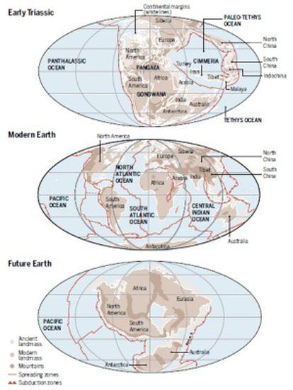 Recreación sobre cómo, de acuerdo con las modernas reconstrucciones, Pangea (el supercontinente que existió al final de la era Paleozoica y comienzos de la Mesozoica que agrupaba la mayor parte de las tierras emergidas del planeta) se formó hace 300 millones de años y empezó a romperse hace unos 175 millones de años. Dentro de alrededor de 250 millones de años los continentes se volverían a juntar en un nuevo supercontinente, denominado Pangea Proxima.