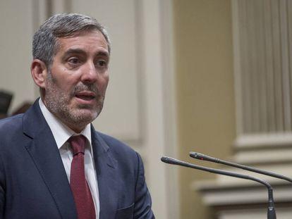 El presidente del Gobierno de Canarias, Fernando Clavijo, este lunes.