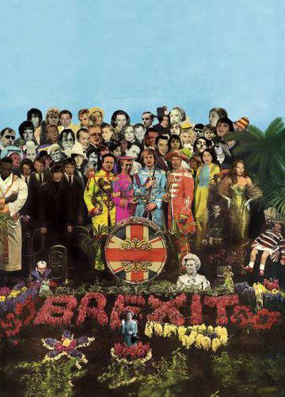 En 1967, el artista Peter Blake y su esposa, Jann Haworth, diseñaron esta portada para el 'Sgt. Pepper's Lonely Hearts Club Band' de The Beatles. Hemos sustituido a Carl Jung, Fred Astaire o Marilyn Monroe por iconos de la era del 'britpop' (Jarvis Cocker, Damon Albarn, Noel Gallagher…) y cambiado a los Beatles por los cuatro tenores del Brexit: Theresa May, David Cameron, Nigel Farage y Boris Johnson.