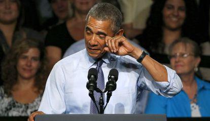 Barack Obama durante su discurso en la Universidad Macomb Community.