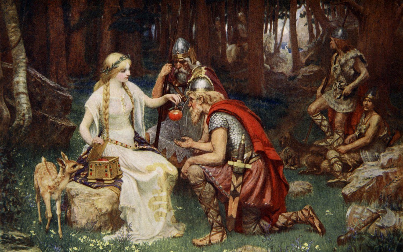 'Idun y las manzanas', 1890. Idun es la guardiana de las manzanas que dan a los dioses la eterna juventud. Ilustración de Donald A Mackenzie, 1890.
