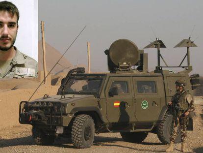 Antonio Carrero (en la foto pequeña, a la izquierda). En la imagen principal, un vehículo blindado MLV Lince del Ejército español.