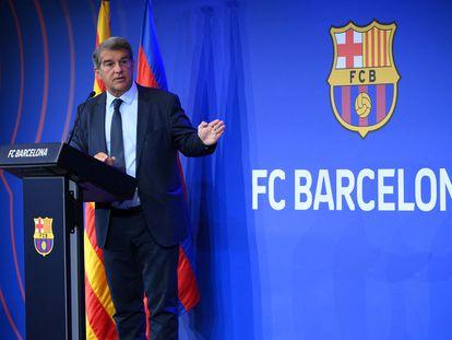 Laporta, durante su comparecencia de este lunes en el Camp Nou.