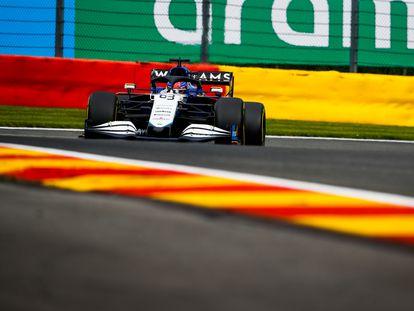 George Russell, durante la sesión de clasificación del GP de Bélgica.
