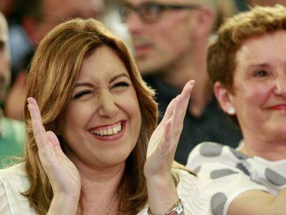 La candidata a la secretaria general del PSOE, Susana Díaz, este viernes en Mallorca.