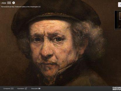 Ampliación del 'Autorretrato' de Rembrandt que se puede observar en la web de Google Cultural Institute.