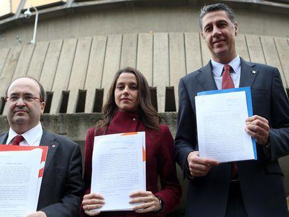 Iceta, Arrimadas y Albiol en el Tribunal Constitucional.