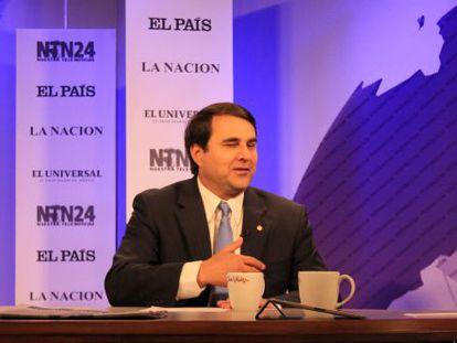 El presidente de Paraguay, Federico Franco, durante la entrevista con NTN24.