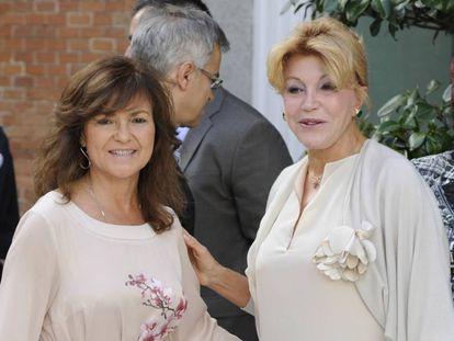 Carmen Calvo y la Baronesa Thyssen, en el 20 aniversario del Museo Thyssen Bornemisza.