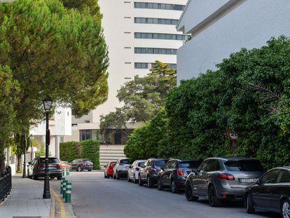 Vista del lugar donde murieron los dos hombres, en Marbella.