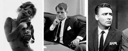 De izquierda a derecha, la actriz Marilyn Monroe en su última sesión de fotos, Robert F. Kennedy y el actor Peter Lawford.