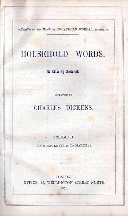 Portada de un ejemplar del semanario 'Household Words', publicado por Dickens