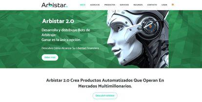 Captura de pantalla de la web de Arbistar 2.0.