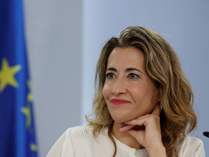 La ministra de Transportes, Movilidad y Agenda Urbana, Raquel Sánchez, este martes en la comparecencia posterior a la reunión del Consejo de Ministros.