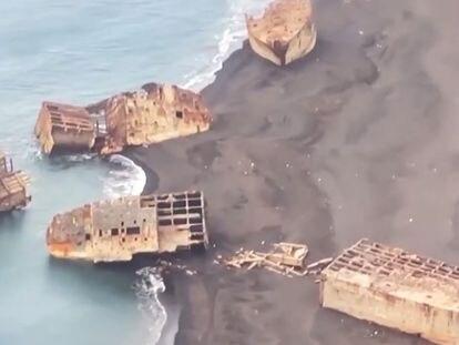 Vídeo | El misterio de los barcos de la Segunda Guerra Mundial reflotados por la actividad volcánica en Japón