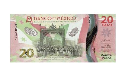 Nuevo billete de 20 pesos de México.