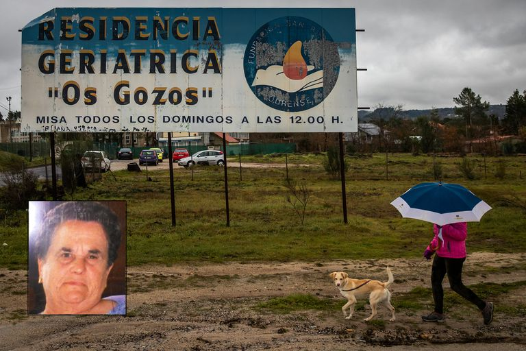Entrada al geriátrico de Pereiro de Aguiar. Abajo a la izquierda, Rogelia Blanco.
