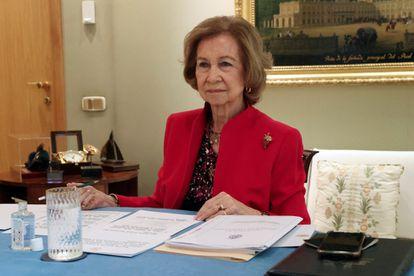 La reina Sofía, el pasado 9 de marzo, en la reunión telemática del patronato de la Escuela de Música Reina Sofía.