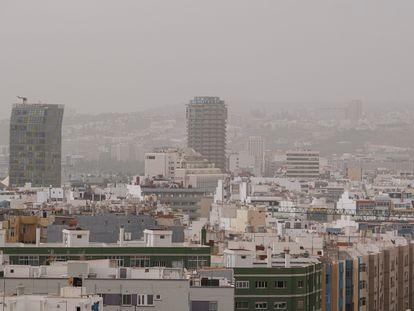 Calima en Las Palmas de Gran Canaria, este miércoles.