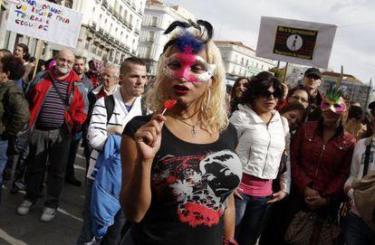 Manifestación de prostitutas en el centro de Madrid.