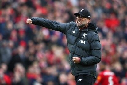 Jürgen Klopp celebra la victoria del Liverpool contra el Bournemouth en marzo.