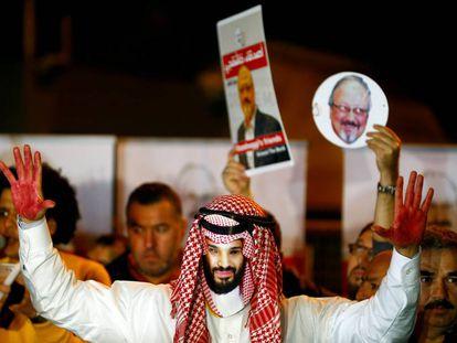 Protesta por el asesinato de Khashoggi, en octubre en Estambul.