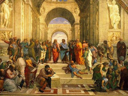 Imagen de la 'Escuela de Atenas', cuadro de Rafael, con algunos de los filósofos más ilustres de la antigüedad, con Platón y Aristóteles en el centro.