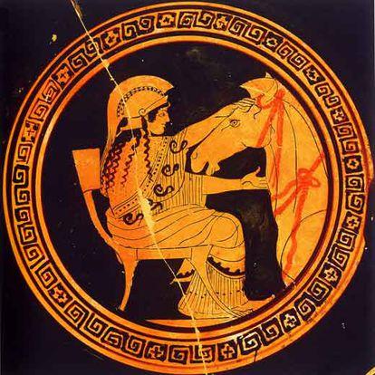 Atenea, diosa de la inteligencia, ayuda a construir a Ulises el Caballo de Troya, que pondrá fin a la guerra.