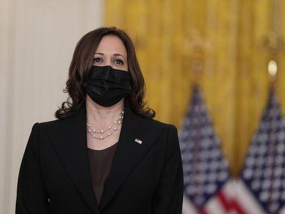 La vicepresidenta Kamala Harris en una rueda de prensa de Joe Biden sobre Afganistán, en la Casa Blanca.