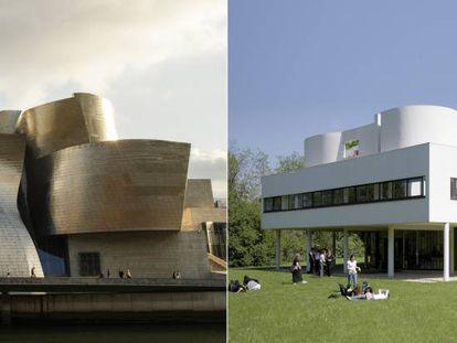 A la izquierda, el Museo Guggenheim, de Bilbao, de Frank Gehry. Y, a la derecha, Villa Savoye, diseñada por Le Corbusier en las afueras de París.