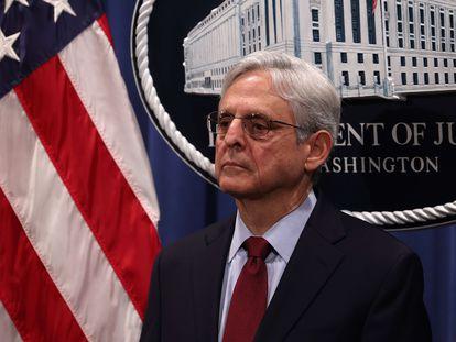 El fiscal general de EE UU, Merrick Garland, en la rueda de prensa de este viernes 25 de junio.