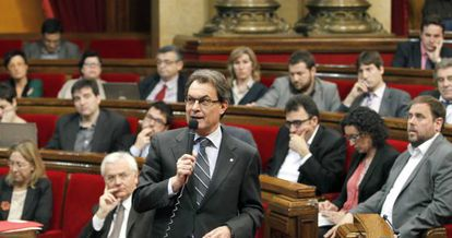 Artur Mas, en la sesión de control de hoy del Parlamento catalán.