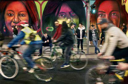 Manifestación reivindicando el uso de la bicicleta en Madrid.