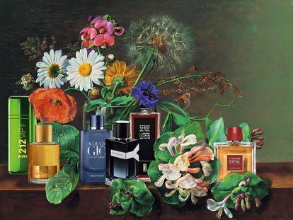 Si los botes de perfumes ya son habitualmente objetos preciosos, imagíneselos pintados en un bodegón. No, no se los imagine, aquí los tiene.