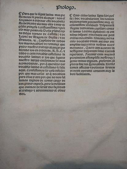 Folio con el prólogo del diccionario de Alfonso de Palencia, conservado en la Firestone Library de la universidad de Princeton.