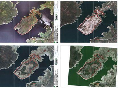 Fotografías aéreas de 2006, 2009, 2010 y 2013 de la isla del embalse de Valdecañas donde se construyó la urbanización de lujo  Marina Isla de Valdecañas, en documentos del Centro de Información Cartográfica y Territorial de Extremadura.