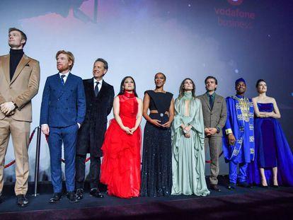 Parte del reparto de 'Star Wars IX', en el estreno en Londres.