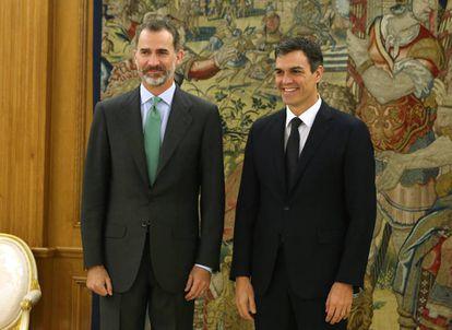 Reunion entre Pedro Sanchez y el Rey Felipe VI en el Palacio de la Zarzuela.