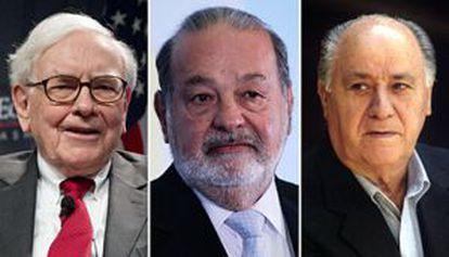 Warren Buffett, Carlos Slim y Amancio Ortega.