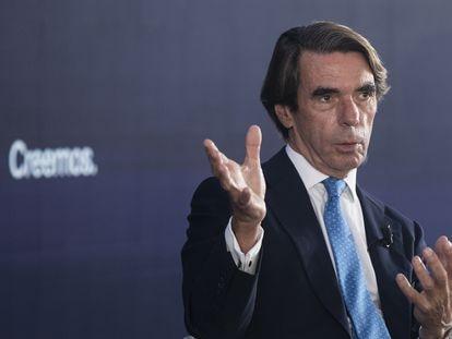 El expresidente español José María Aznar, en la convención nacional del Partido Popular en Sevilla, este jueves.