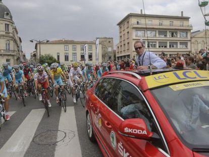 Prudhomme, en el coche, en la 16ª etapa.