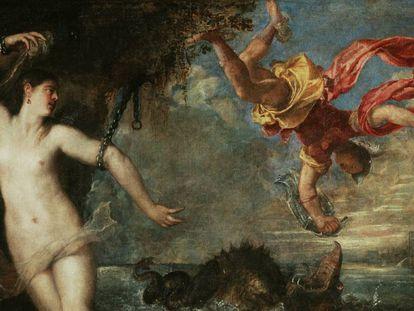 Detalle de 'Perseo y Andrómeda' (1554–1556), de Tiziano. Vídeo: visita virtual de la exposición en la National Gallery (Londres).