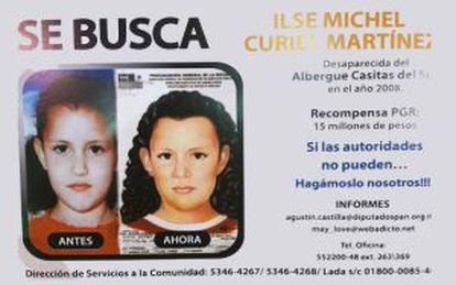 Cartel de búsqueda de la niña Ilse Michel.